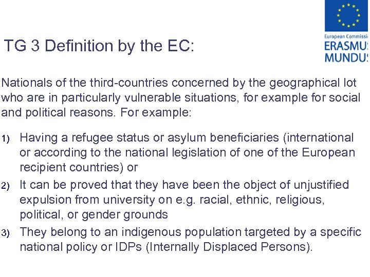 TG 3 Definition by the EC: Nationals of the third-countries concerned by the geographical