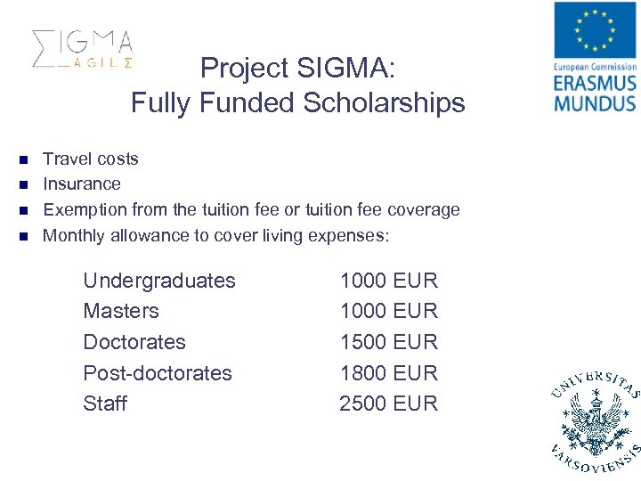 Project SIGMA: Fully Funded Scholarships n n Travel costs Insurance Exemption from the tuition