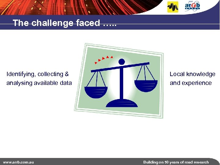 The challenge faced …. . Identifying, collecting & analysing available data www. arrb. com.