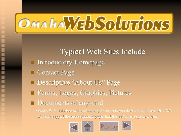 """Typical Web Sites Include n n n Introductory Homepage Contact Page Descriptive """"About Us"""""""