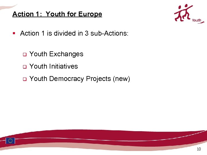 Action 1: Youth for Europe § Action 1 is divided in 3 sub-Actions: q