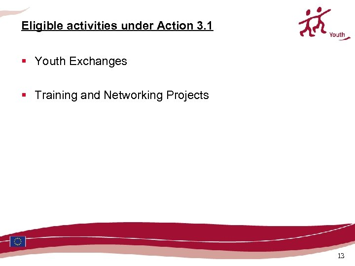 Eligible activities under Action 3. 1 § Youth Exchanges § Training and Networking Projects
