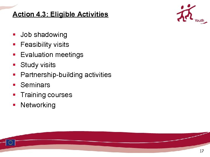 Action 4. 3: Eligible Activities § § § § Job shadowing Feasibility visits Evaluation