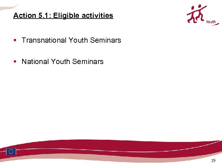 Action 5. 1: Eligible activities § Transnational Youth Seminars § National Youth Seminars 19