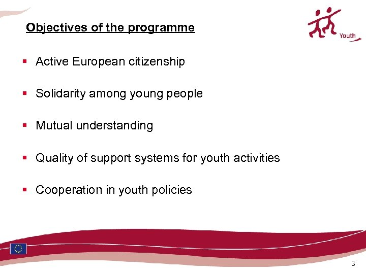 Objectives of the programme § Active European citizenship § Solidarity among young people §