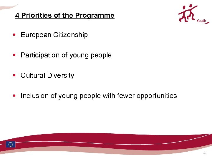 4 Priorities of the Programme § European Citizenship § Participation of young people §