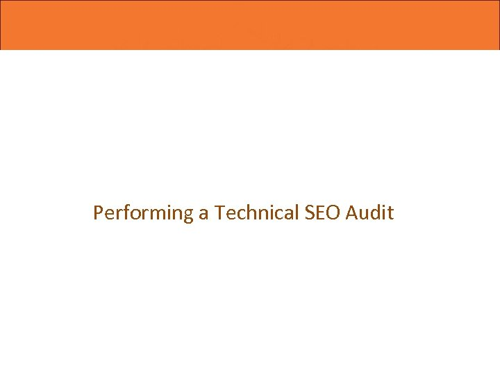 Performing a Technical SEO Audit