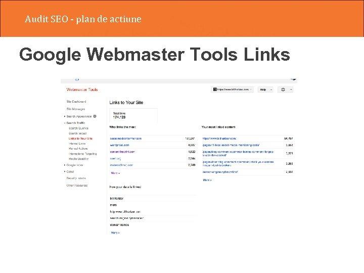 Audit SEO - plan de actiune Google Webmaster Tools Links
