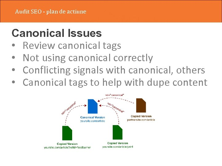 Audit SEO - plan de actiune Canonical Issues • Review canonical tags • Not