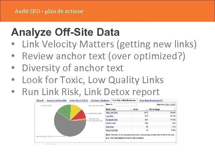 Audit SEO - plan de actiune Analyze Off-Site Data • Link Velocity Matters (getting