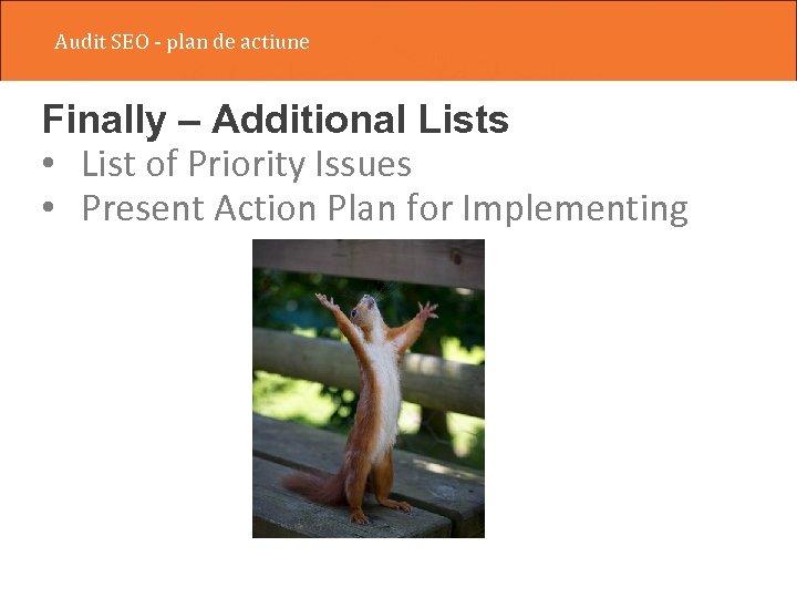Audit SEO - plan de actiune Finally – Additional Lists • List of Priority