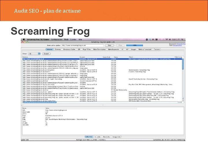 Audit SEO - plan de actiune Screaming Frog