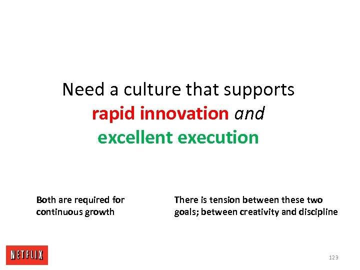 Need a culture that supports rapid innovation and excellent execution Both are required for