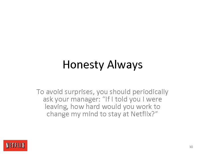 "Honesty Always To avoid surprises, you should periodically ask your manager: ""If I told"
