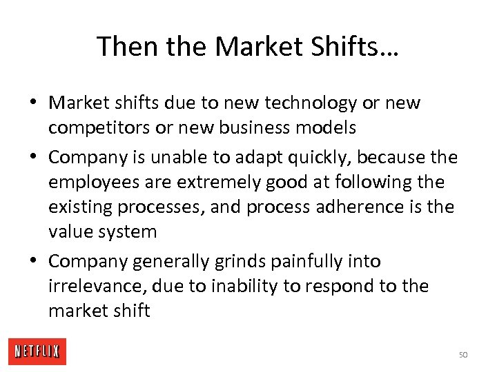 Then the Market Shifts… • Market shifts due to new technology or new competitors