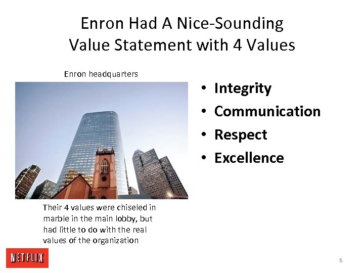 Enron Had A Nice-Sounding Value Statement with 4 Values Enron headquarters • • Integrity