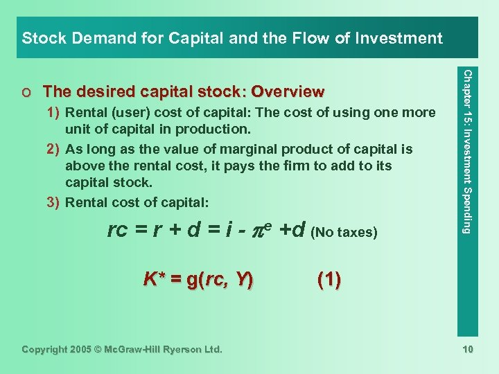 Stock Demand for Capital and the Flow of Investment 1) Rental (user) cost of