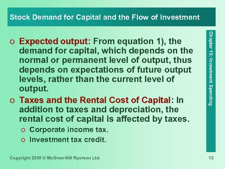 Stock Demand for Capital and the Flow of Investment Chapter 15: Investment Spending o
