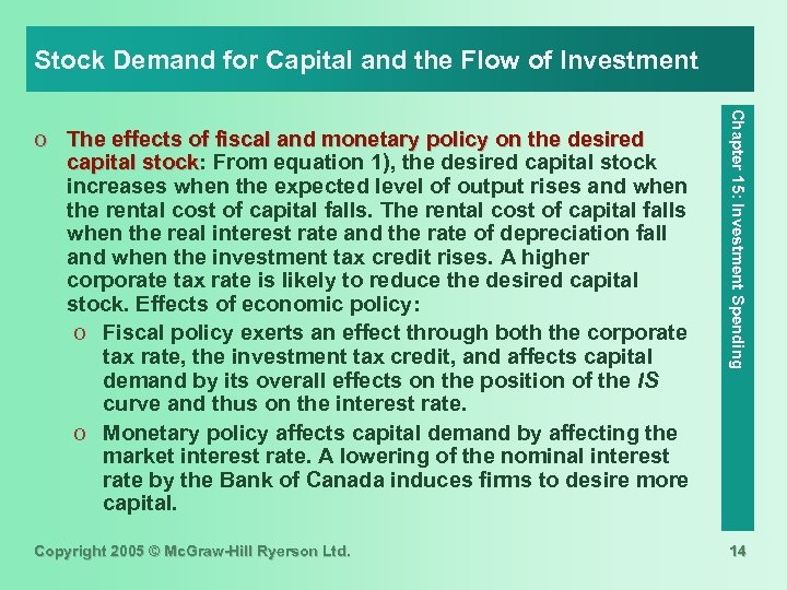 Stock Demand for Capital and the Flow of Investment Copyright 2005 © Mc. Graw-Hill