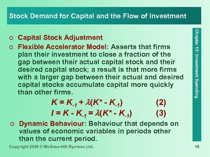 Stock Demand for Capital and the Flow of Investment K = K-1 + (K*