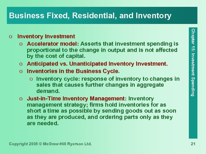 Business Fixed, Residential, and Inventory Copyright 2005 © Mc. Graw-Hill Ryerson Ltd. Chapter 15: