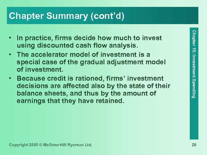 Chapter Summary (cont'd) Copyright 2005 © Mc. Graw-Hill Ryerson Ltd. Chapter 15: Investment Spending