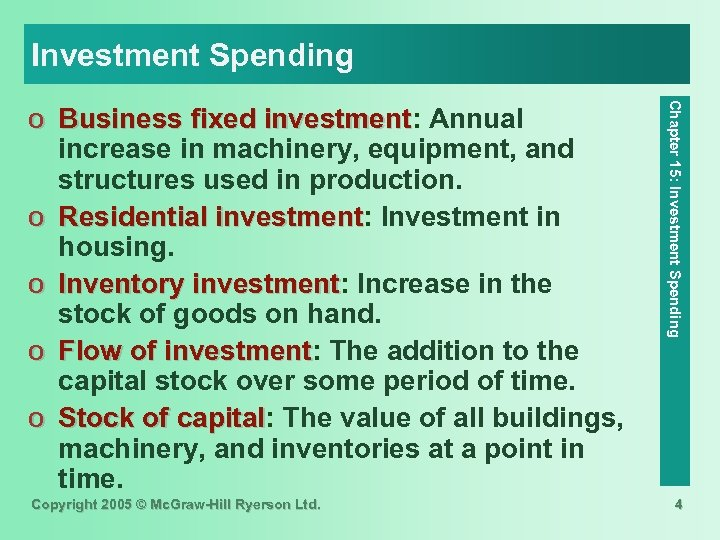 Investment Spending Copyright 2005 © Mc. Graw-Hill Ryerson Ltd. Chapter 15: Investment Spending o