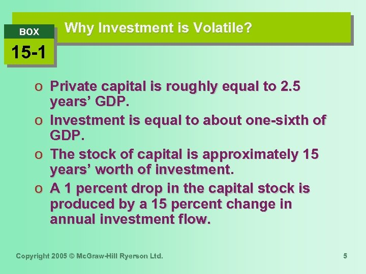 BOX Why Investment is Volatile? 15 -1 o Private capital is roughly equal to