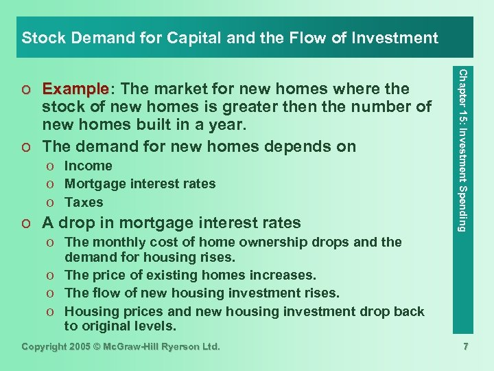 Stock Demand for Capital and the Flow of Investment o Income o Mortgage interest
