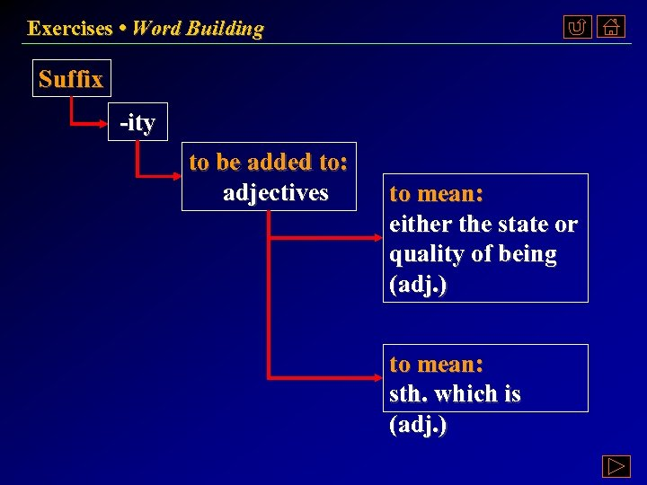 Exercises • Word Building Suffix -ity to be added to: adjectives to mean: either