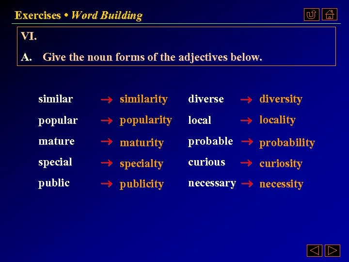 Exercises • Word Building VI. A. Give the noun forms of the adjectives below.