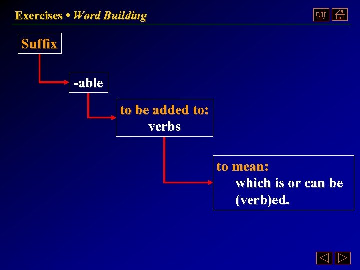 Exercises • Word Building Suffix -able to be added to: verbs to mean: which