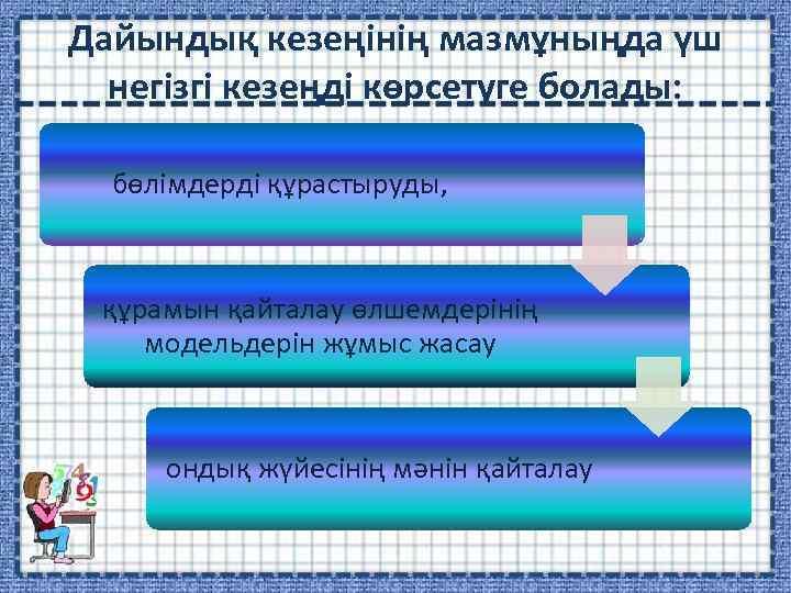 Дайындық кезеңінің мазмұныңда үш негізгі кезеңді көрсетуге болады: бөлімдерді құрастыруды, құрамын қайталау өлшемдерінің модельдерін