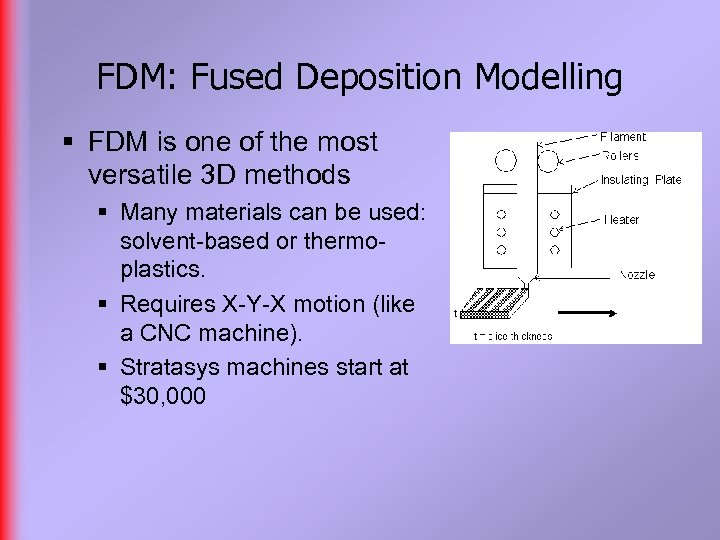 FDM: Fused Deposition Modelling § FDM is one of the most versatile 3 D
