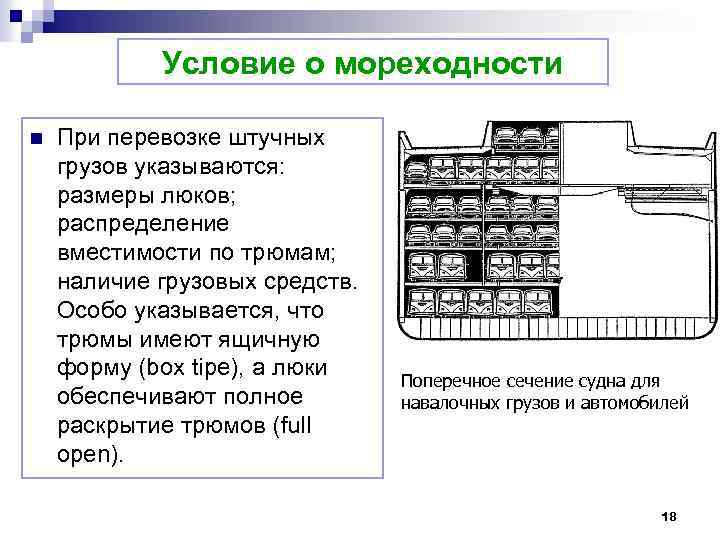 Условие о мореходности n При перевозке штучных грузов указываются: размеры люков; распределение вместимости по