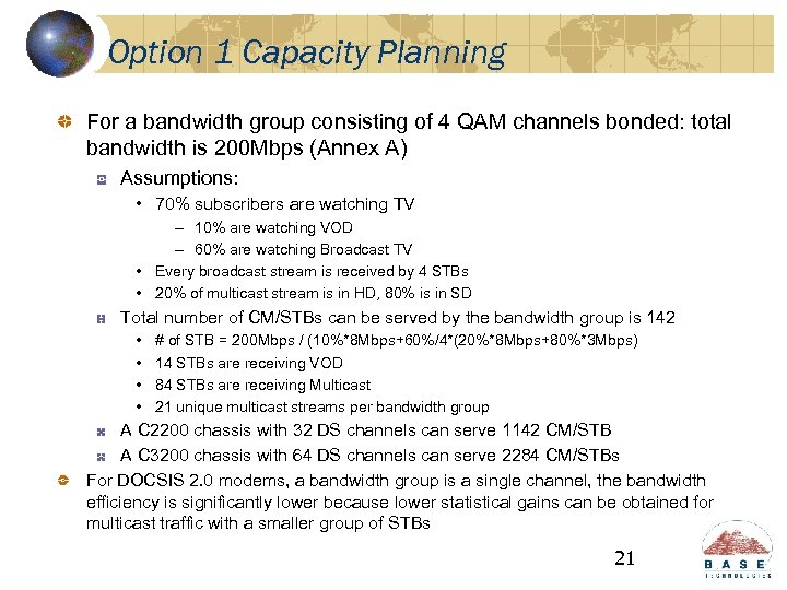 Option 1 Capacity Planning For a bandwidth group consisting of 4 QAM channels bonded: