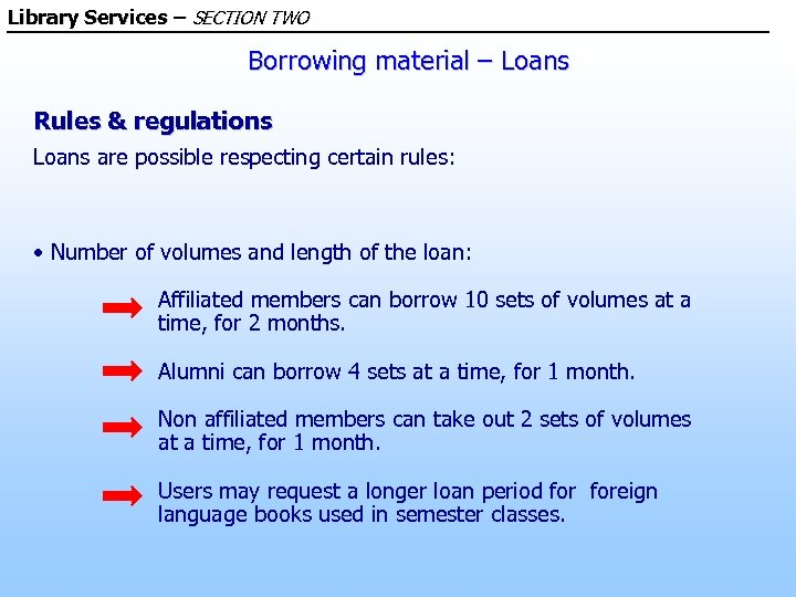 Library Services – SECTION TWO Borrowing material – Loans Rules & regulations Loans are