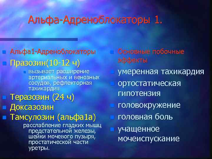 Альфа-Адреноблокаторы 1. n Альфа 1 -Адреноблокаторы n Празозин(10 -12 ч) n n вызывает расширение