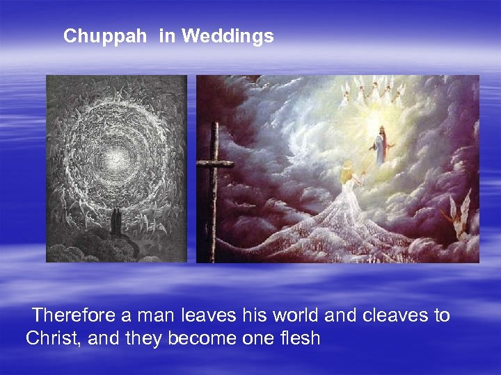 Chuppah in Weddings Therefore a man leaves his world and cleaves to Christ, and