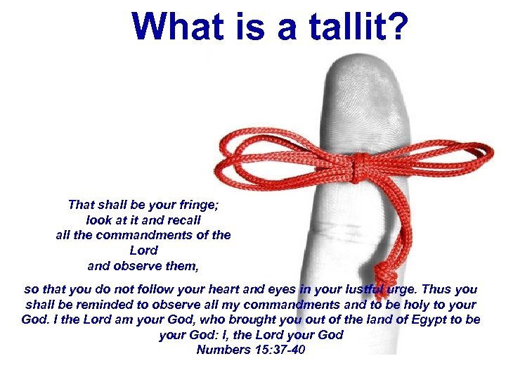 What is a tallit? That shall be your fringe; look at it and recall