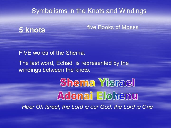 Symbolisms in the Knots and Windings 5 knots five Books of Moses FIVE words