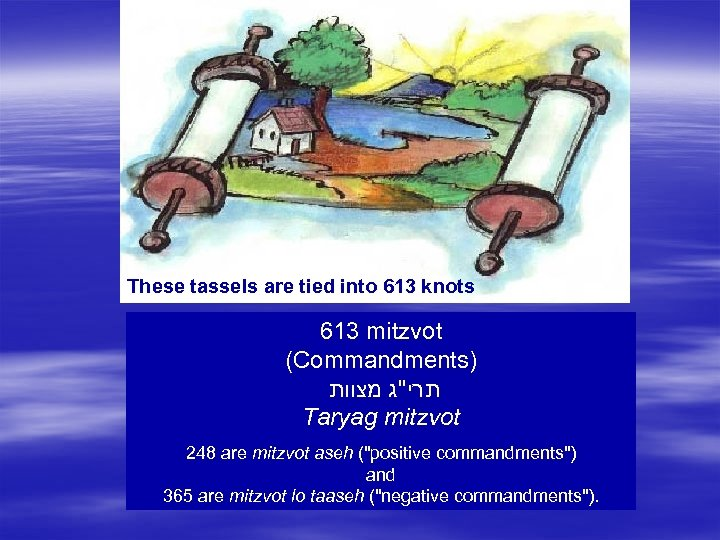 These tassels are tied into 613 knots 613 mitzvot (Commandments) תרי