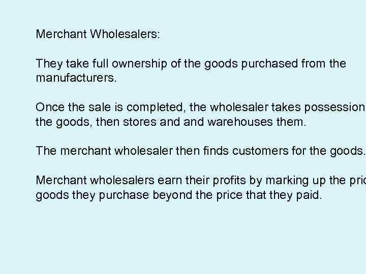 what is a merchant wholesaler