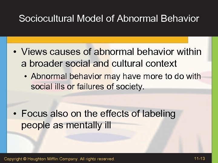 the supernatural model of abnormal behaviours Abnormal psychology is the study of abnormal or atypical behavior in people there are many things group into the category of atypical behavior for example mental illness but being left handed is also considered atypical but is not an abnormality.