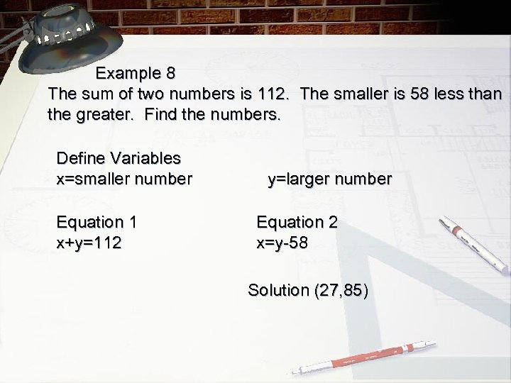 Example 8 The sum of two numbers is 112. The smaller is 58 less