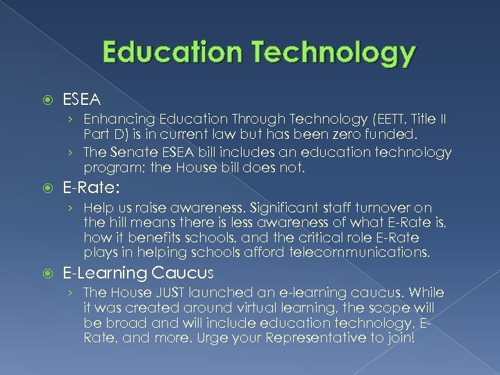Education Technology ESEA › Enhancing Education Through Technology (EETT, Title II Part D) is