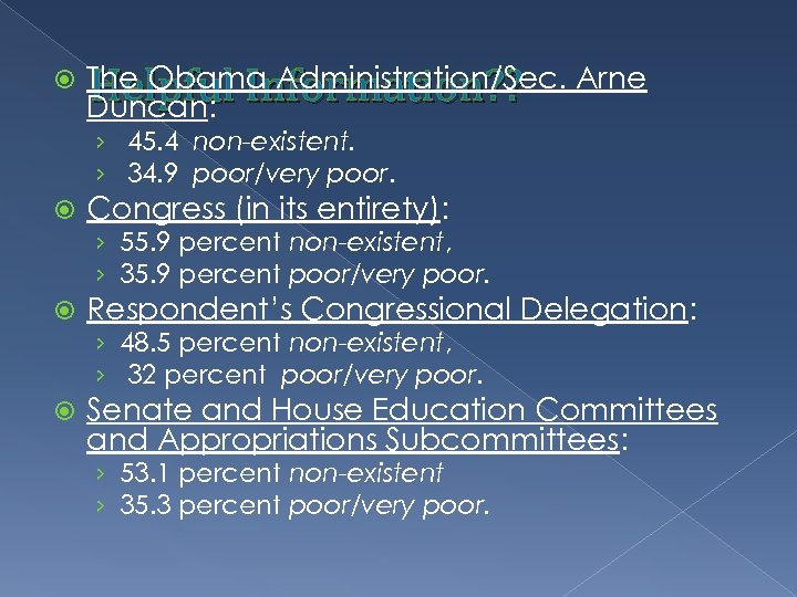 The Obama Administration/Sec. Arne Helpful Information? ? Duncan: › 45. 4 non-existent. ›