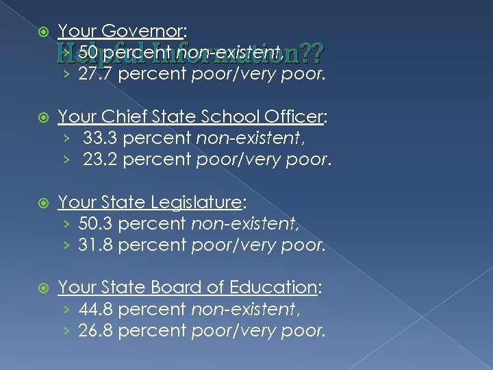 Your Governor: › 50 percent non-existent, › 27. 7 percent poor/very poor. Helpful
