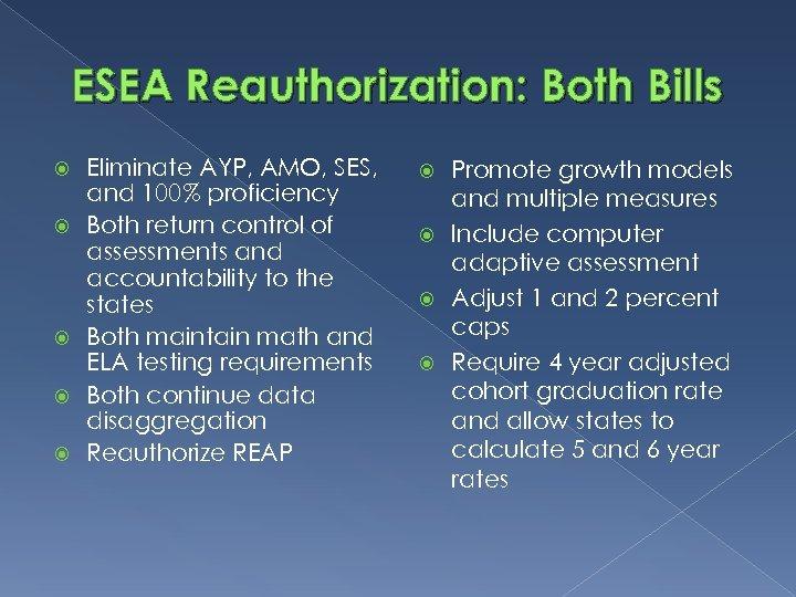 ESEA Reauthorization: Both Bills Eliminate AYP, AMO, SES, and 100% proficiency Both return control