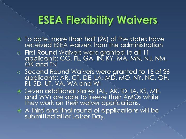 ESEA Flexibility Waivers o o To date, more than half (26) of the states